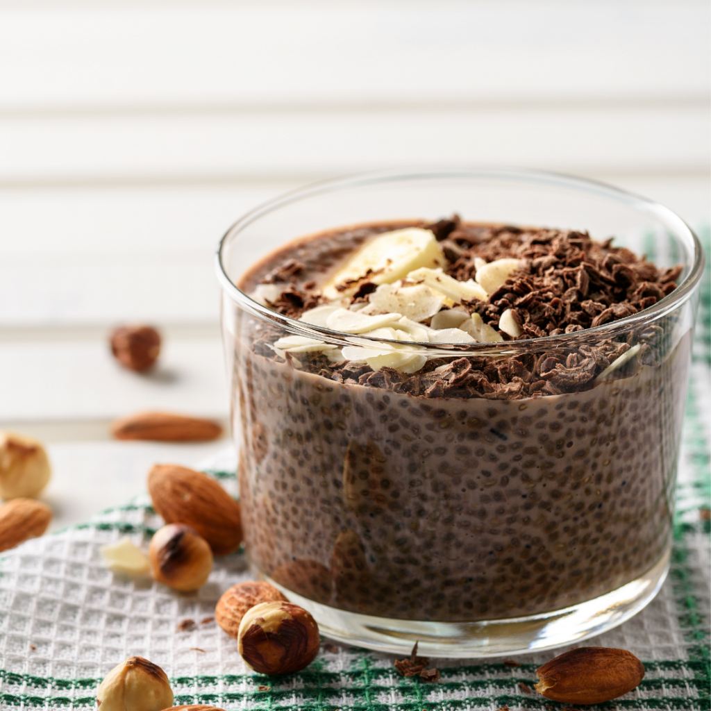 chocolate hazelnut chia seed pudding